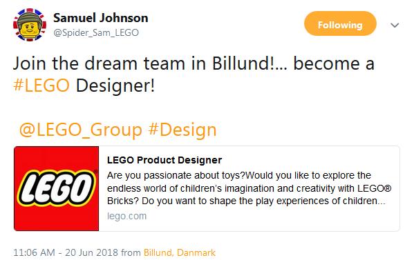 SamLEGOdesignerTweet