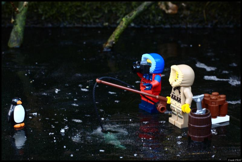Brick Pic Fishing Penguin