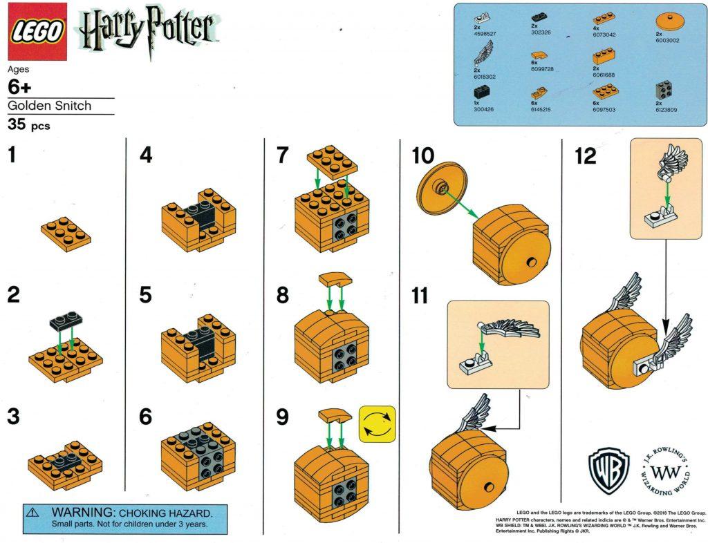 LEGO Harry Potter Golden Snitch Instructions 1024x786