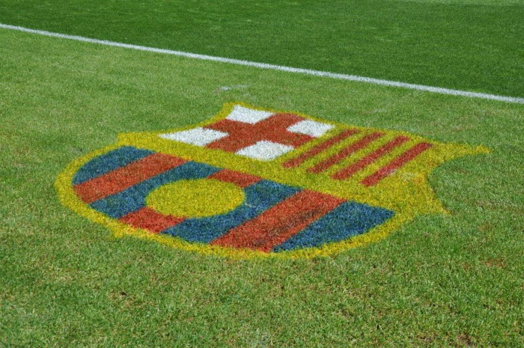 Camp Nou FC Barcelona pitch crest