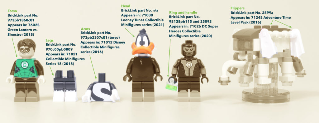 How To Build Your Own LEGO Green Loontern Minifigure Daffy Duck Green Lantern 15