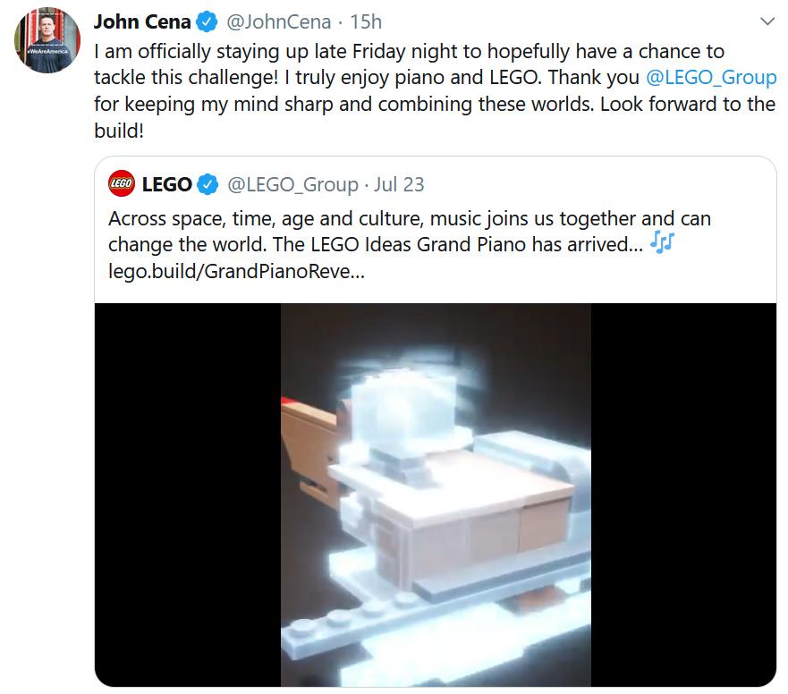 John Cena Piano Tweet