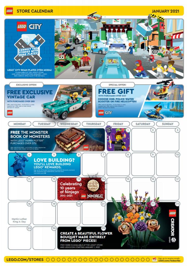 LEGO 2021 January Store Calendar Front