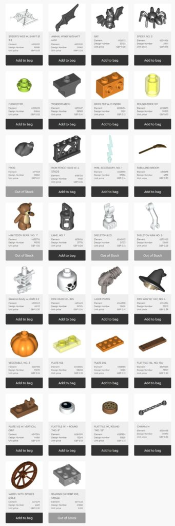 LEGO 40513 Spooky VIP addon pack pieces