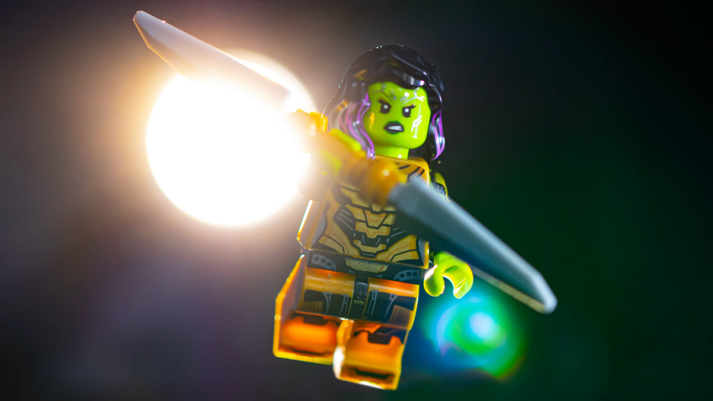 LEGO 71031 Marvel Studios Gamora with the Blade of Thanos action shot featured