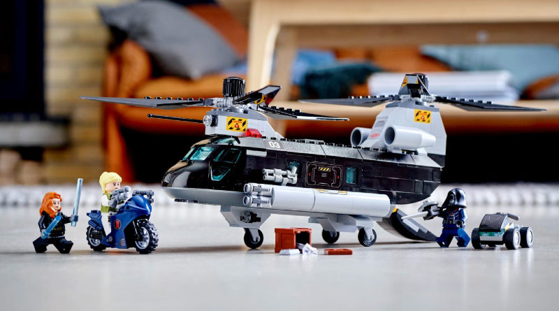 LEGO 76162 Black Widows Helicopter Chase lifestyle featured