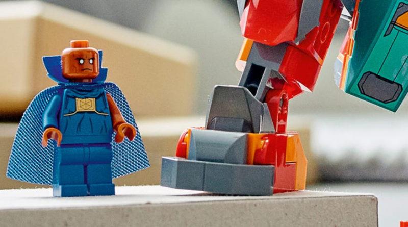 LEGO 76194 Tony Starks Sakaarian Iron Man The Watcher minifigure ကိုအသားပေးဖော်ပြထားသည်