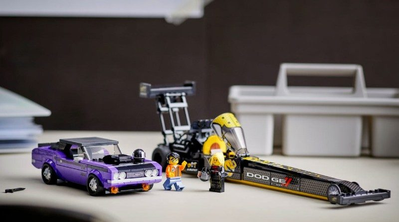 LEGO 76904 Mopar Dodge SRT Top Fuel Dragster and 1970 Dodge Challenger T A lifestyle featured