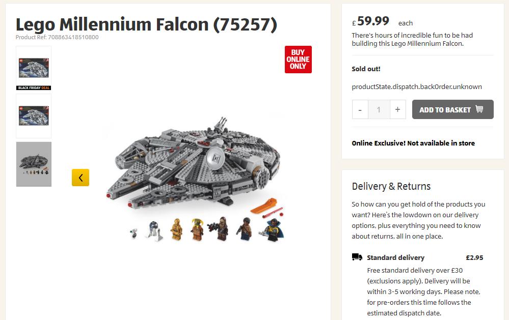 LEGO Aldi Millenium Falcon Black Friday