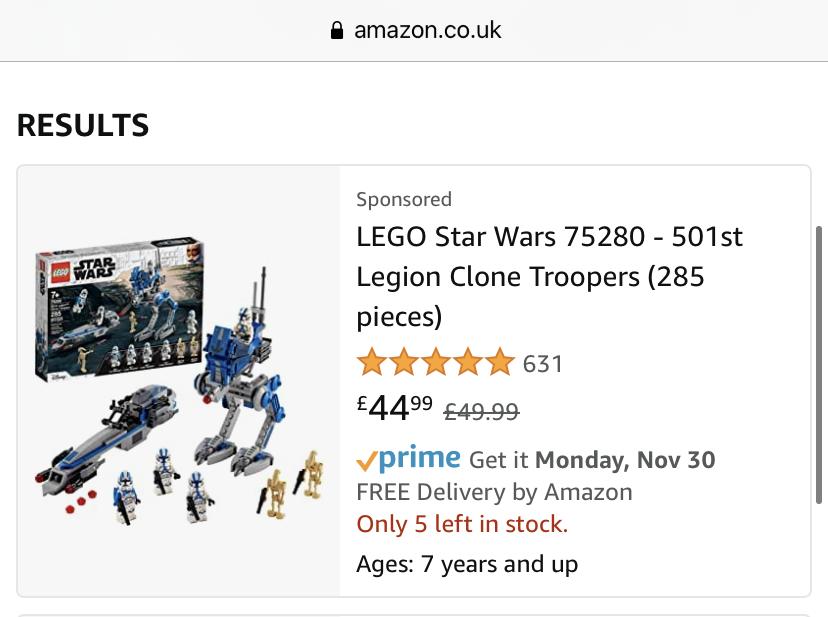 LEGO Amazon 501st Sponsored Listing