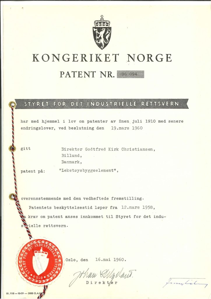 LEGO Brick Patent Norway