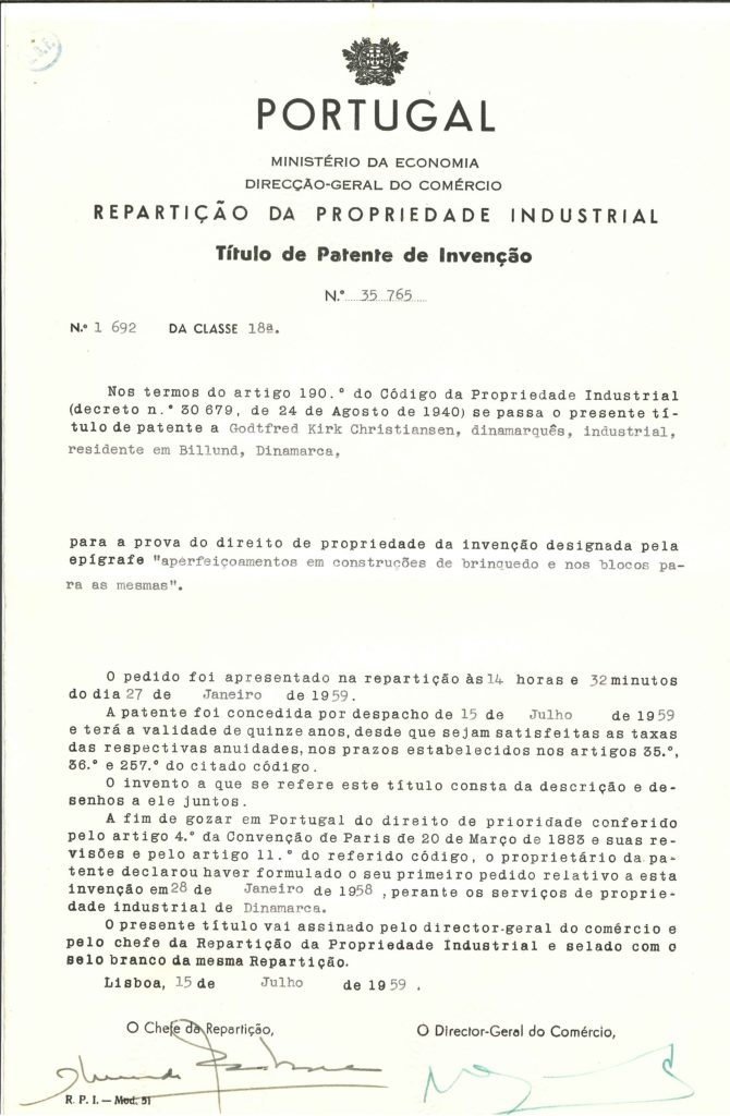LEGO Brick Patent Portugal
