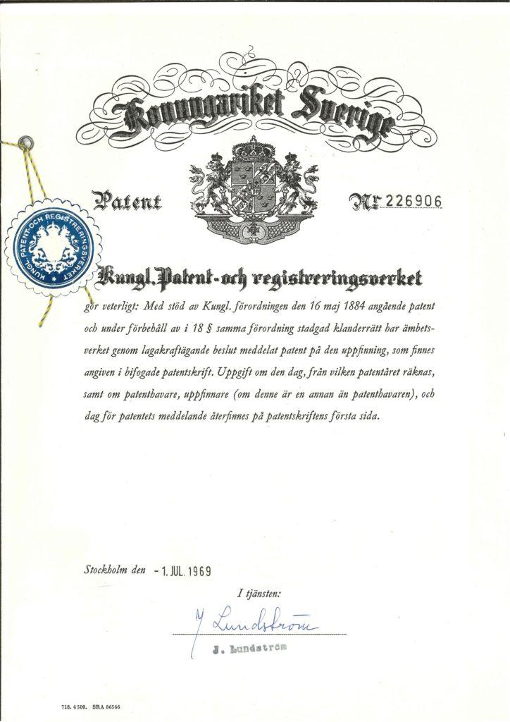 LEGO Brick Patent Sweden