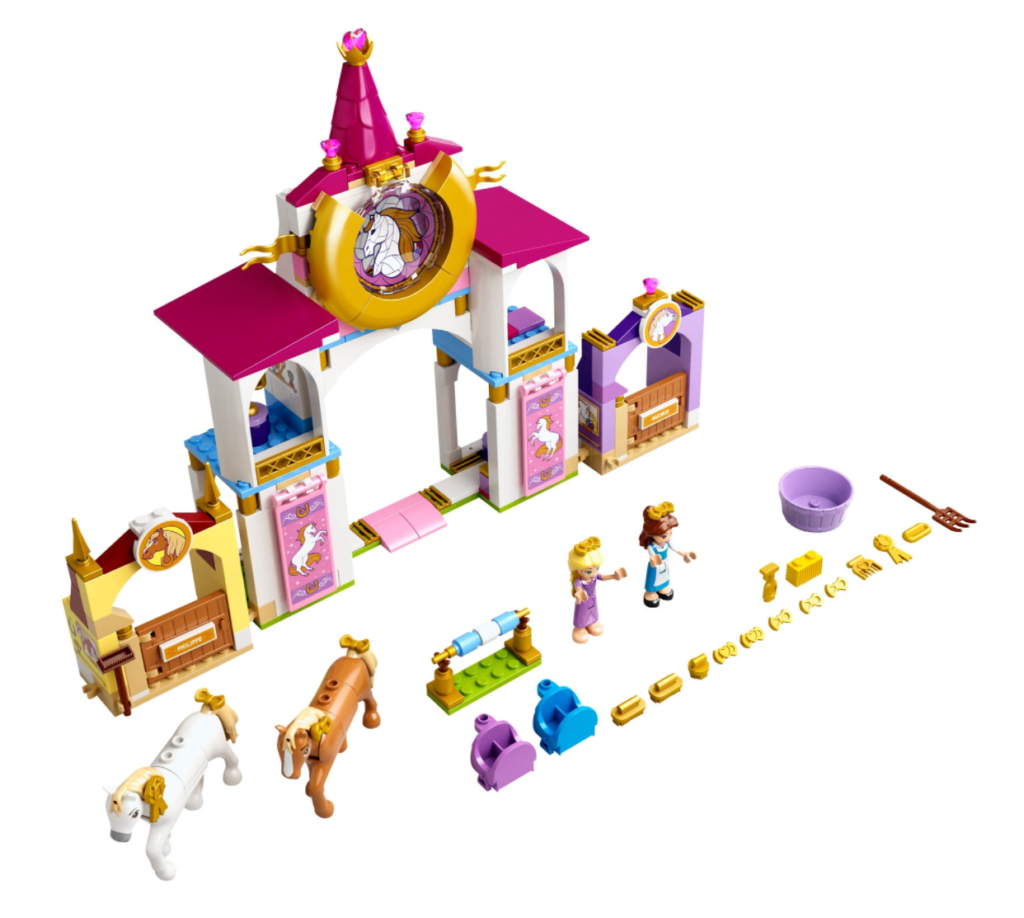 LEGO Disney 43195 Belle and Rapunzels Royal Stables contents