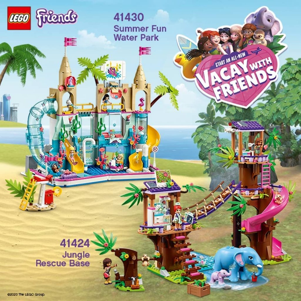 LEGO Friends 41430 Summer Fun Water Park 41424 Jungle Rescue Base 1024x1024