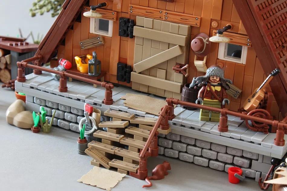 LEGO Ideas A frame cabin outside