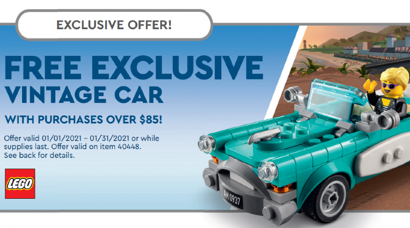 LEGO January 2021 Store Calendar Vintage Car Featured