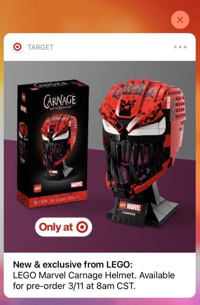 LEGO Marvel Carnage Helmet Target ad