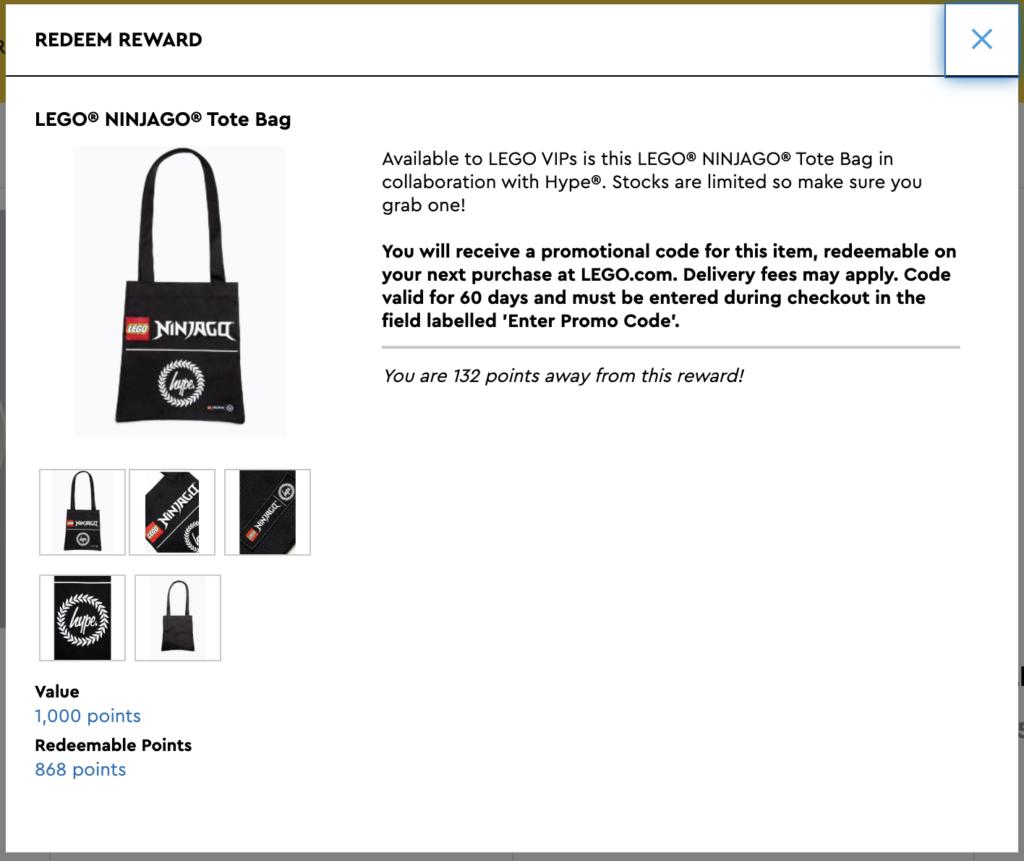LEGO NINJAGO x HYPE Tote Bag VIP reward