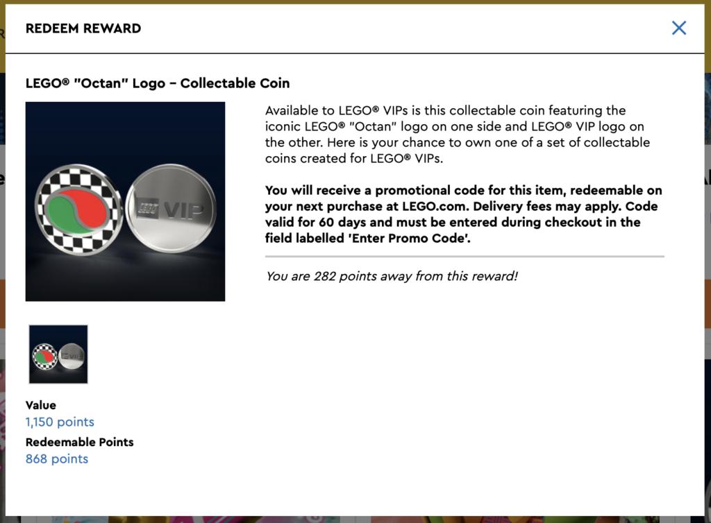 LEGO Octan Collectible Coin VIP Rewards Centre