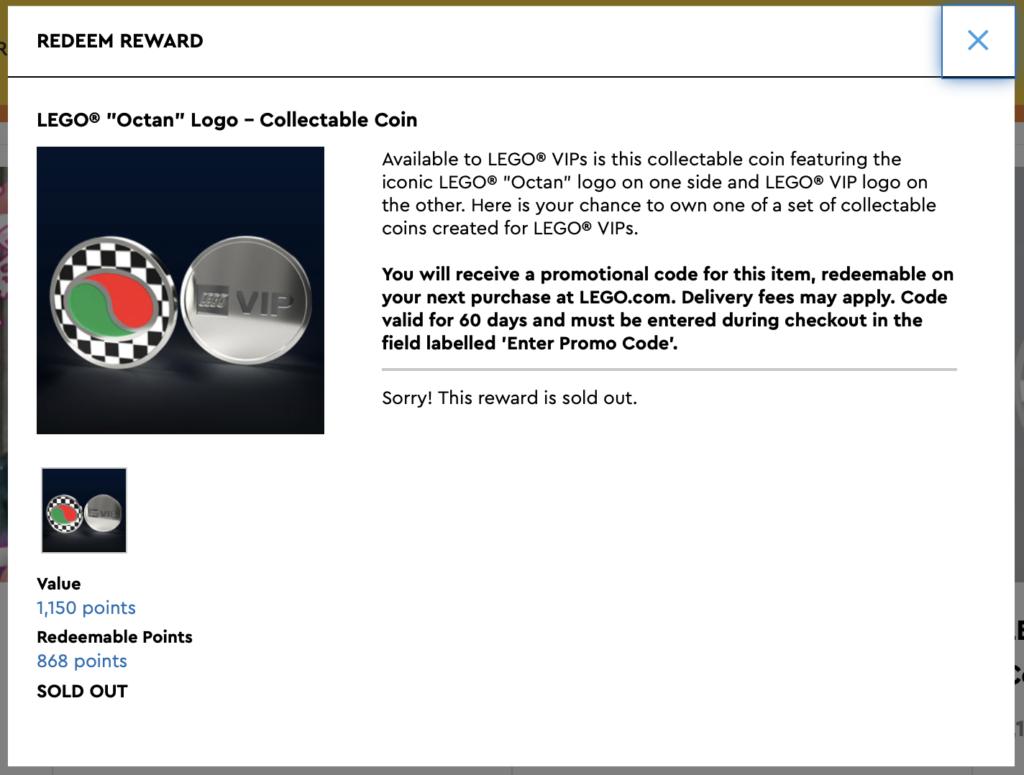 LEGO Octan Collectible Coin VIP Sold Out