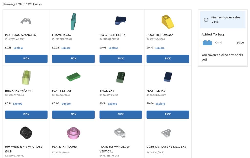 LEGO Pick a Brick minimum order value
