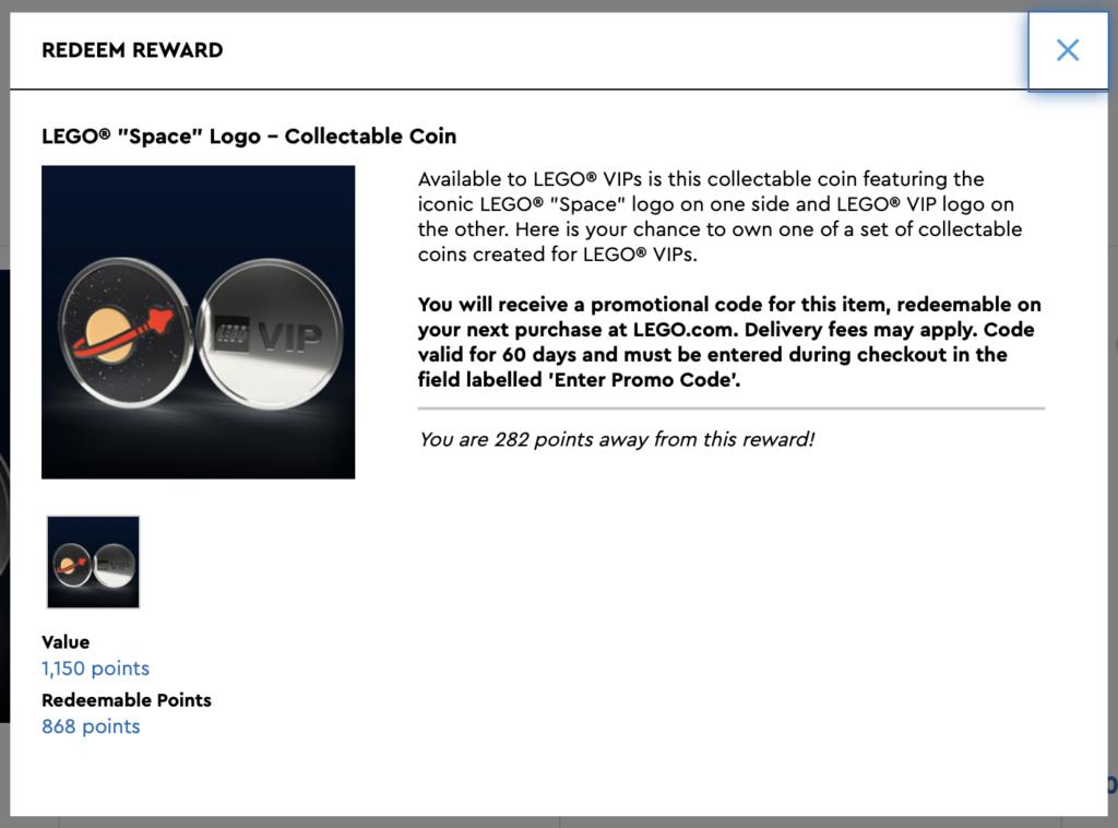 LEGO Space Collectible Coin VIP Rewards Centre