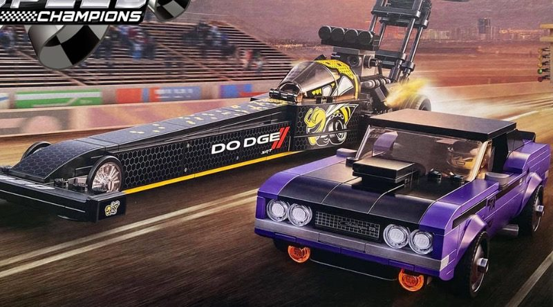 LEGO Speed Champions 76904 Mopar Dodge SRT Top Fuel Dragster and 1970 Dodge Challenger TA featured