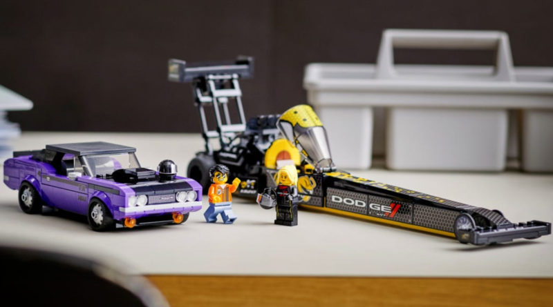 LEGO Speed Champions 76904 Mopar Dodge SRT Top Fuel Dragster and 1970 Dodge Challenger T A lifestyle featured