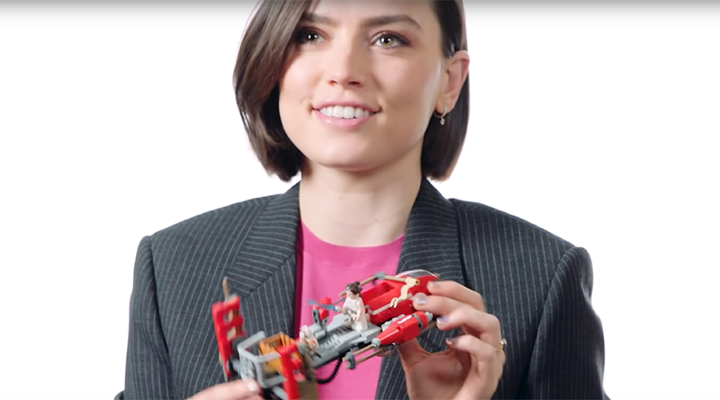 Star Wars star Daisy Ridley builds a LEGO set