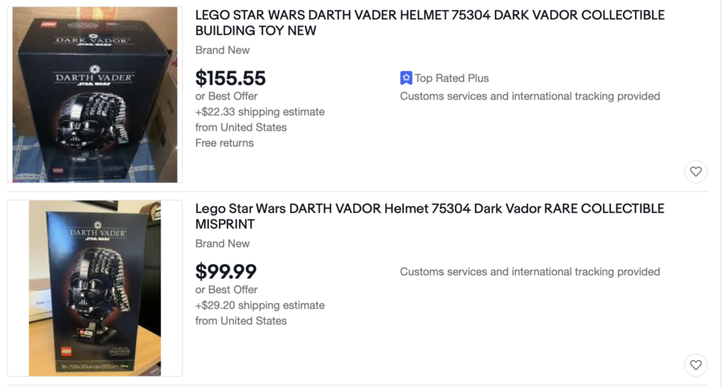 LEGO Star Wars Dark Vador 75304 Darth Vader Helmet EBay Misprint