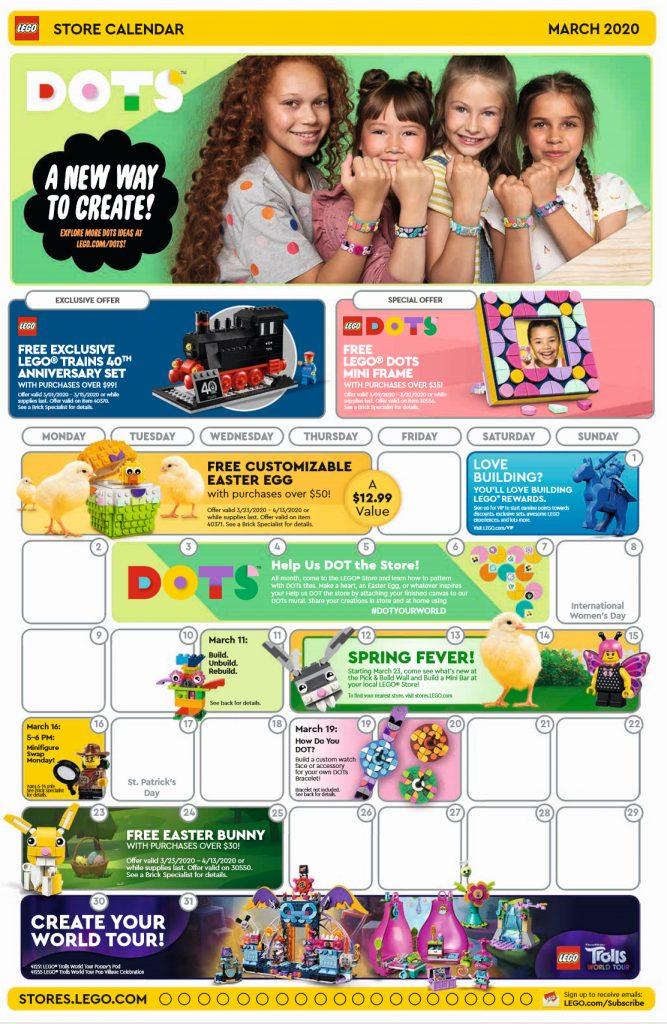 LEGO Store Calendar March 2020