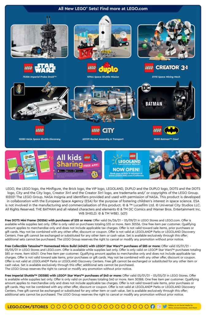 LEGO Store Calendar May 2021 Back