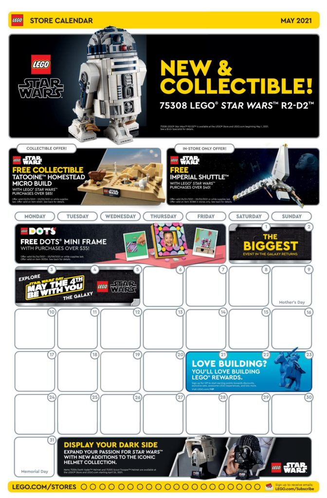 LEGO Store Calendar May 2021 Front