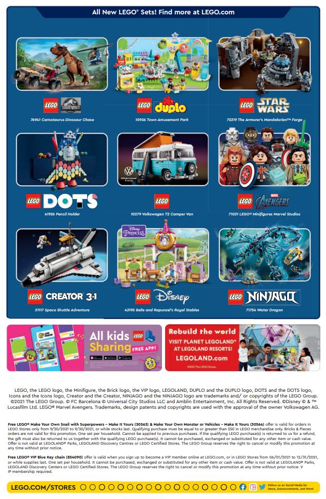 LEGO Store Calendar September 2021 back