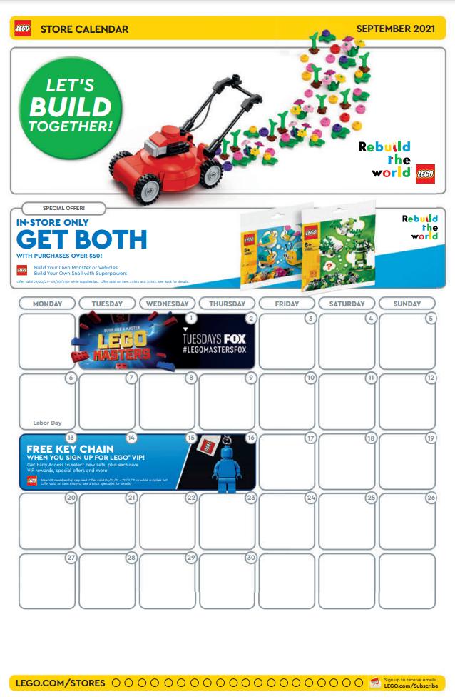 LEGO Store Calendar September 2021