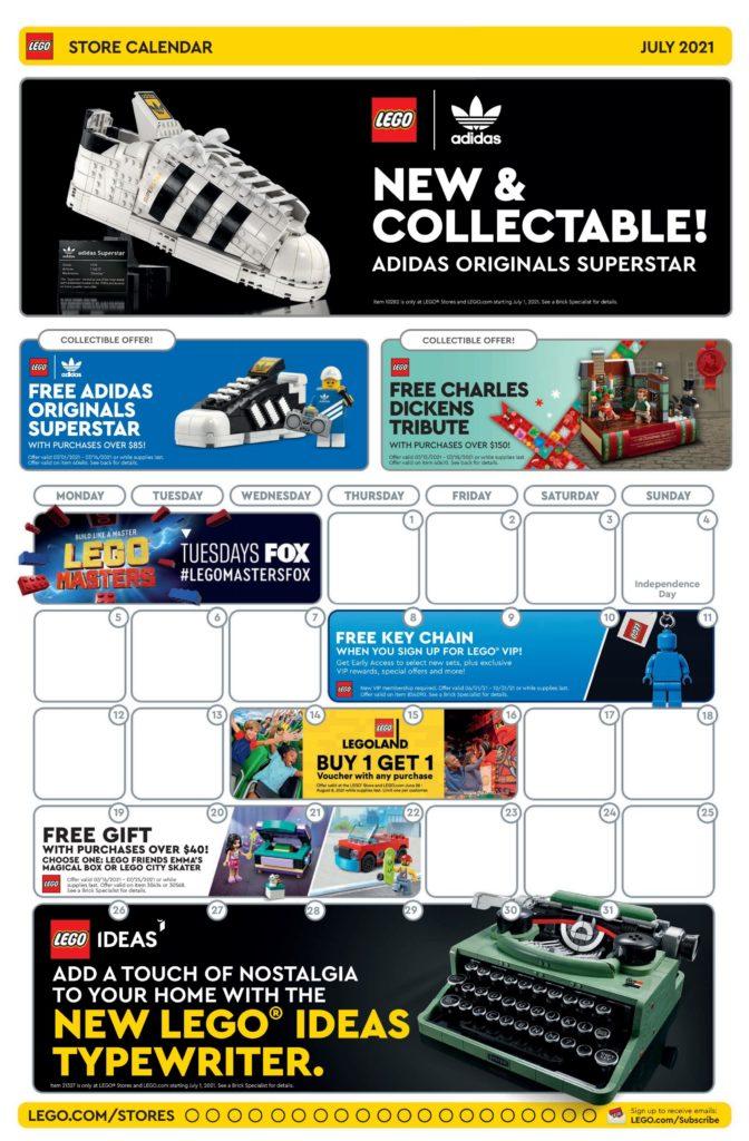 LEGO Store US Calendar July 2021
