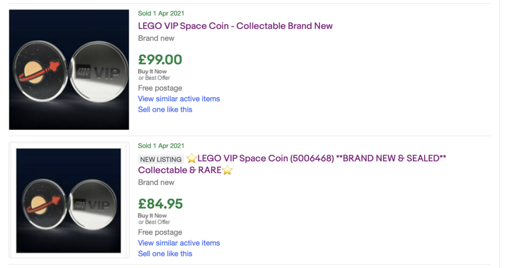 LEGO VIP Classic Space Collectible Coin EBay Listings