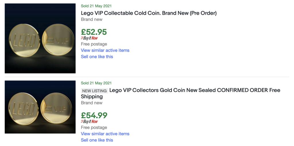 LEGO VIP gold coin eBay