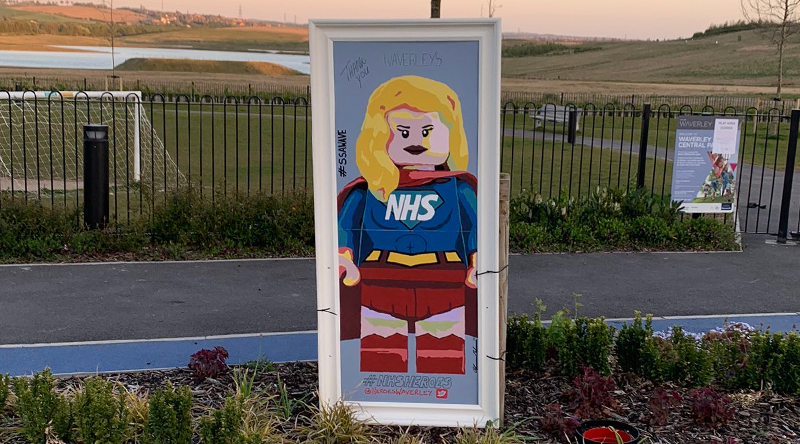 LEGO NHS super hero minifigure mural