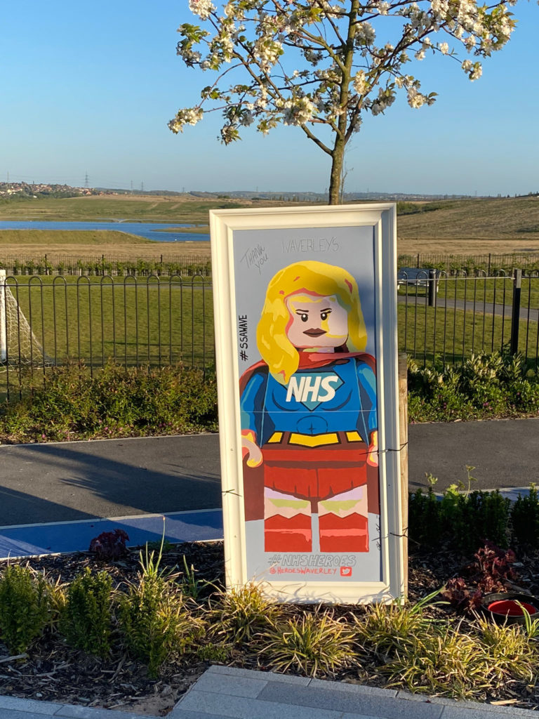 LEGO super hero minifigure mural celebrates the NHS