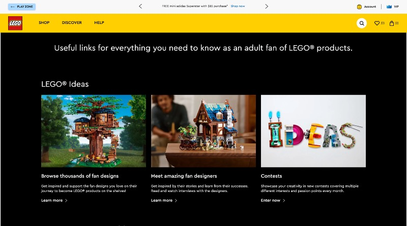 LEGO.com Adult Landing Page Featured