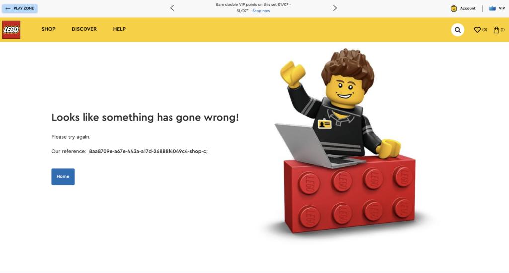 LEGO.com error message