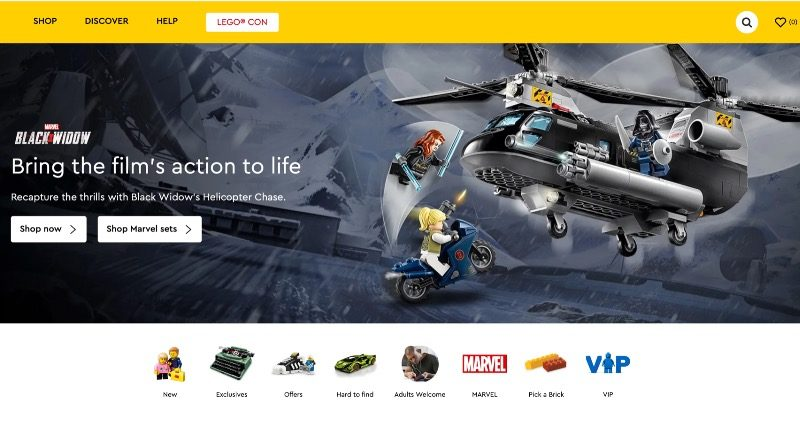 LEGO.com homepage July 2021 featured