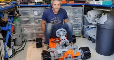 Matt Denton on giant LEGO go-kart