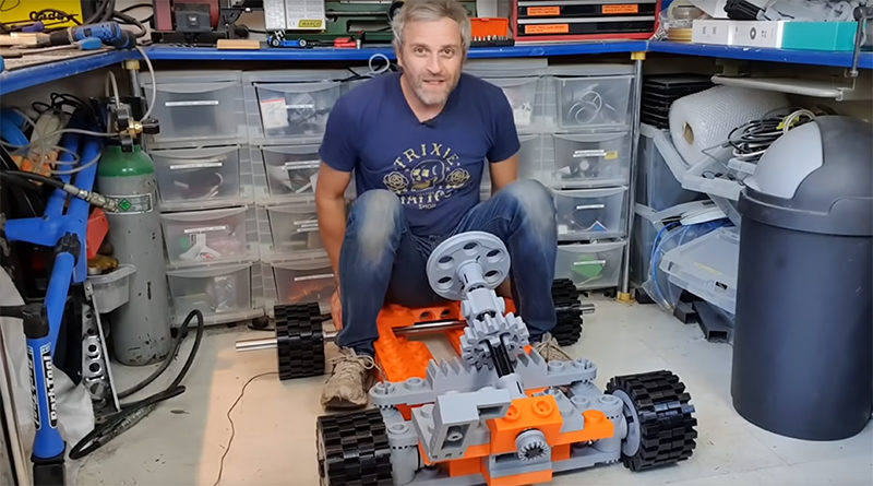 Matt Denton on giant LEGO go-kart