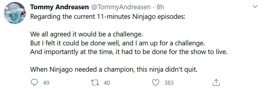 NINJAGO Tommy Andreasen Tweet 11