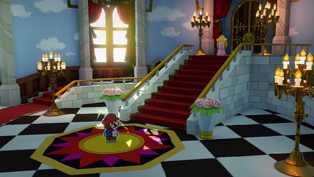 Paper Mario Origami King peachs castle lobby