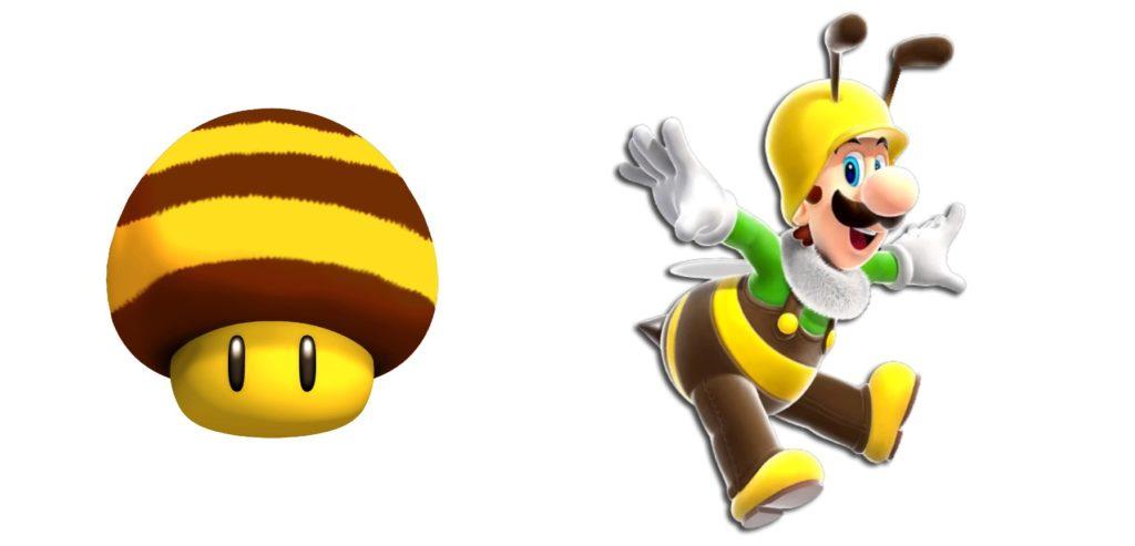 Super Mario Bee mushroom power up list
